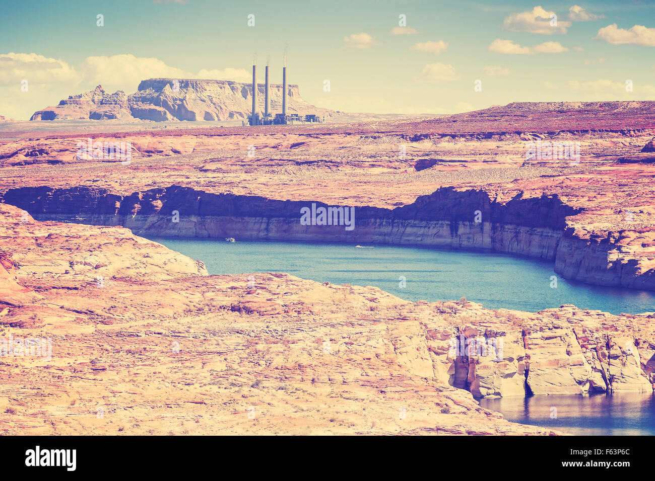 Vintage old film style photo of Lake Powell and Glen Canyon in Arizona, USA. - Stock Image