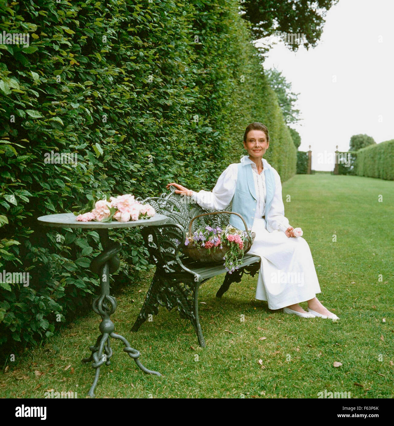 AUDREY HEPBURN (1929-1993) British actress in 1990 while filming Gardens of the World for the American PBS. It was - Stock Image