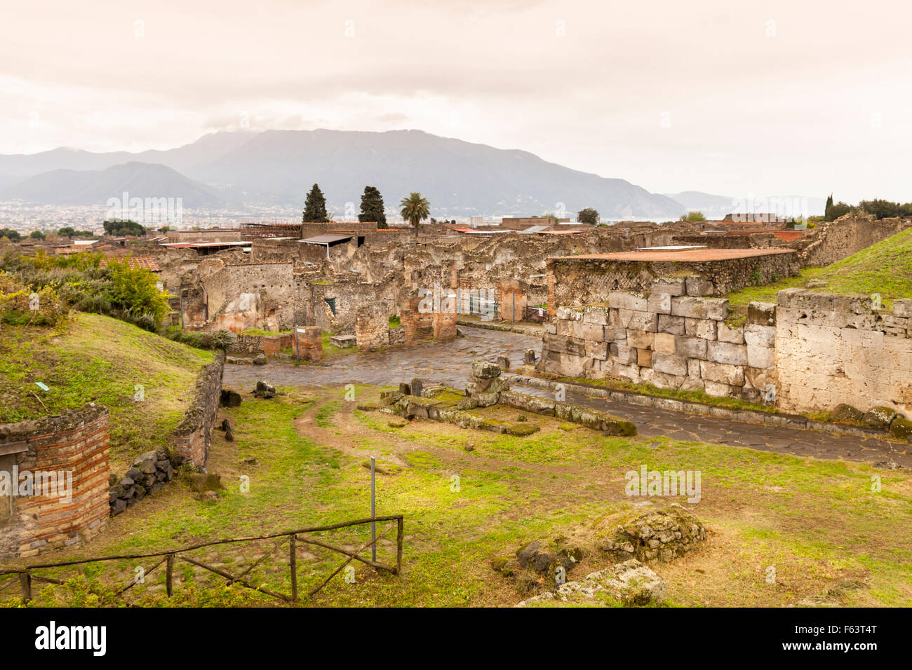 The ancient Roman city ruins of Pompeii, a UNESCO World Heritage site near Naples, Italy - Stock Image
