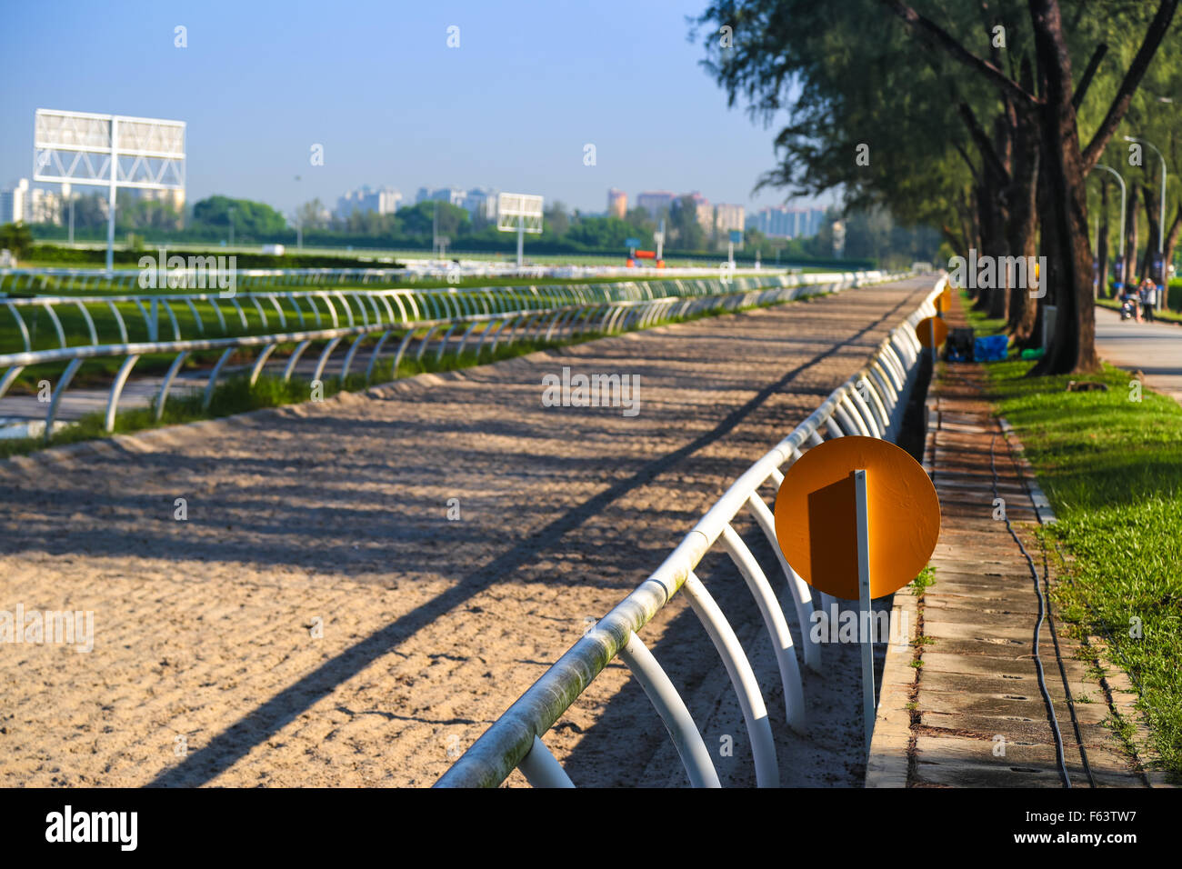 Straight horse race track at Selangor Turf Club, Seri Kembangan, Malaysia. - Stock Image