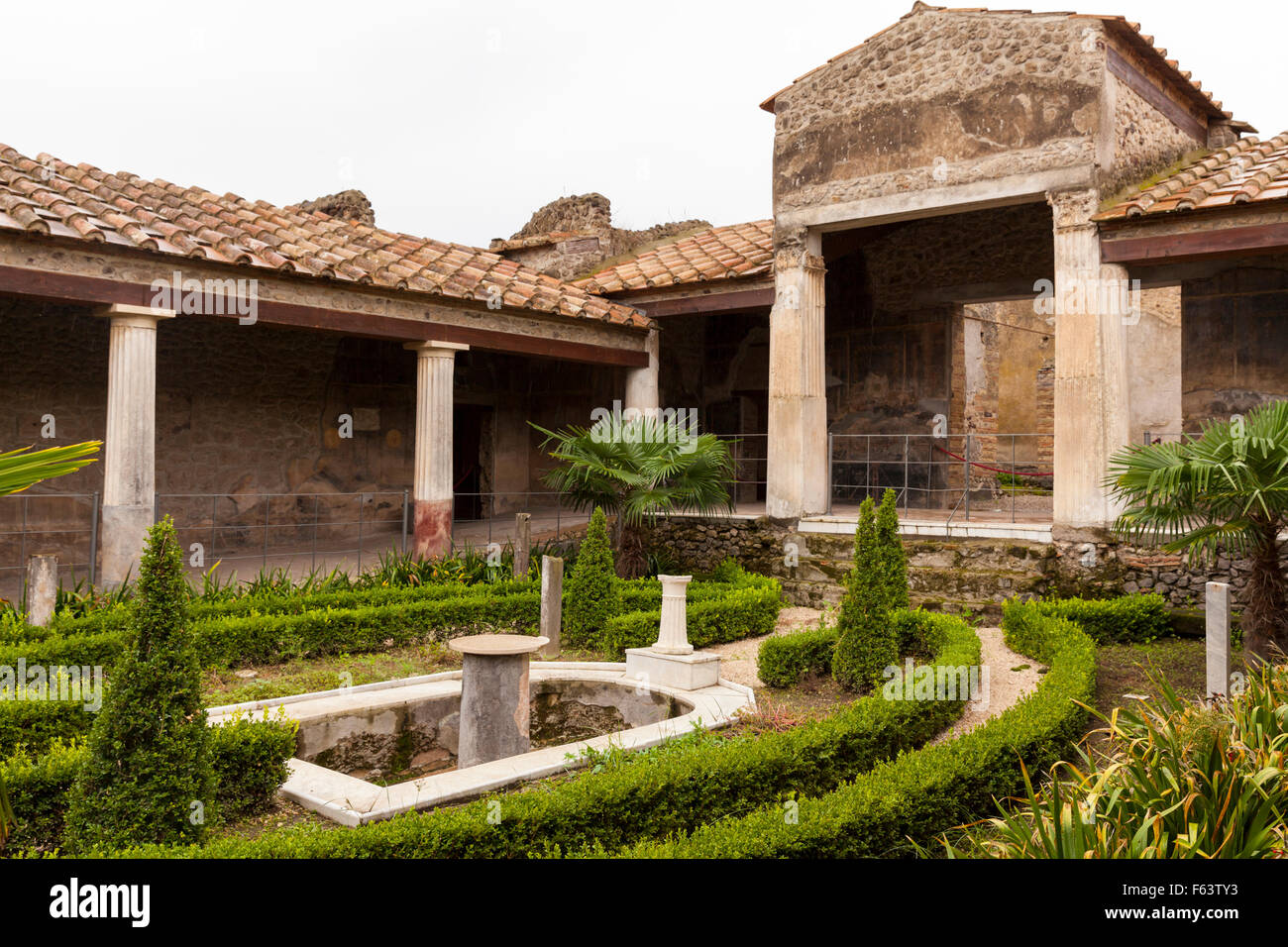 Casa Degli Amorini Dorati, House of the Gilded Cupids, atrium of the restored villa at the excavation site of Pompeii, Italy Stock Photo