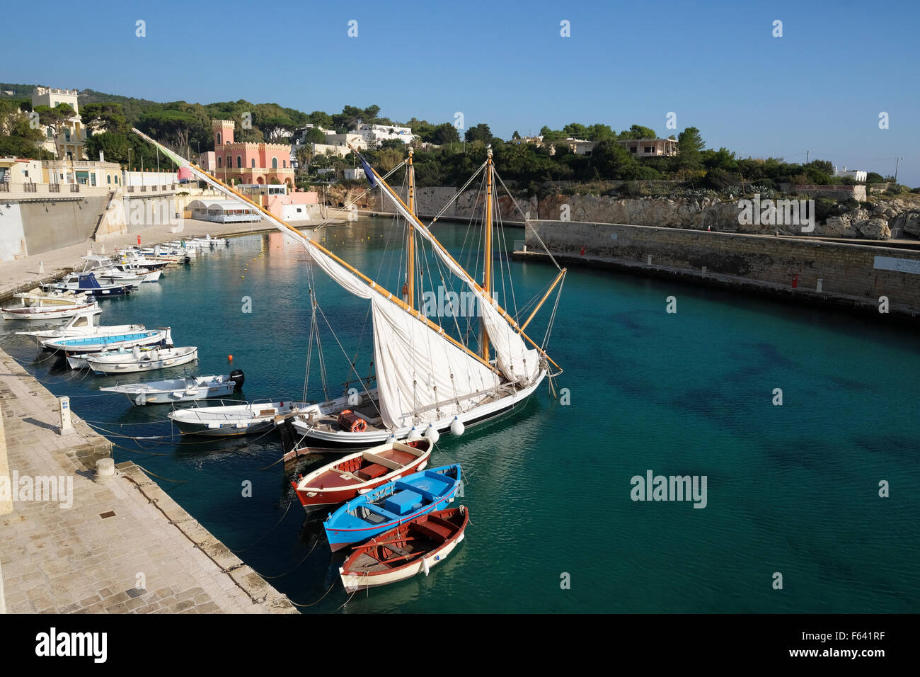 Boats in the harbour of Tricase, Lecce Province, Puglia, Italy Stock Photo