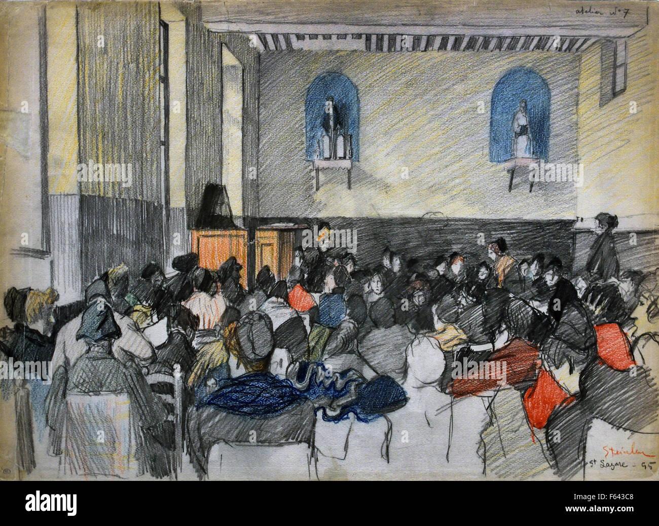 Prisonnières punies dans une salle de la prison Saint Lazare - Punished prisoners in a room of the prison Saint Stock Photo