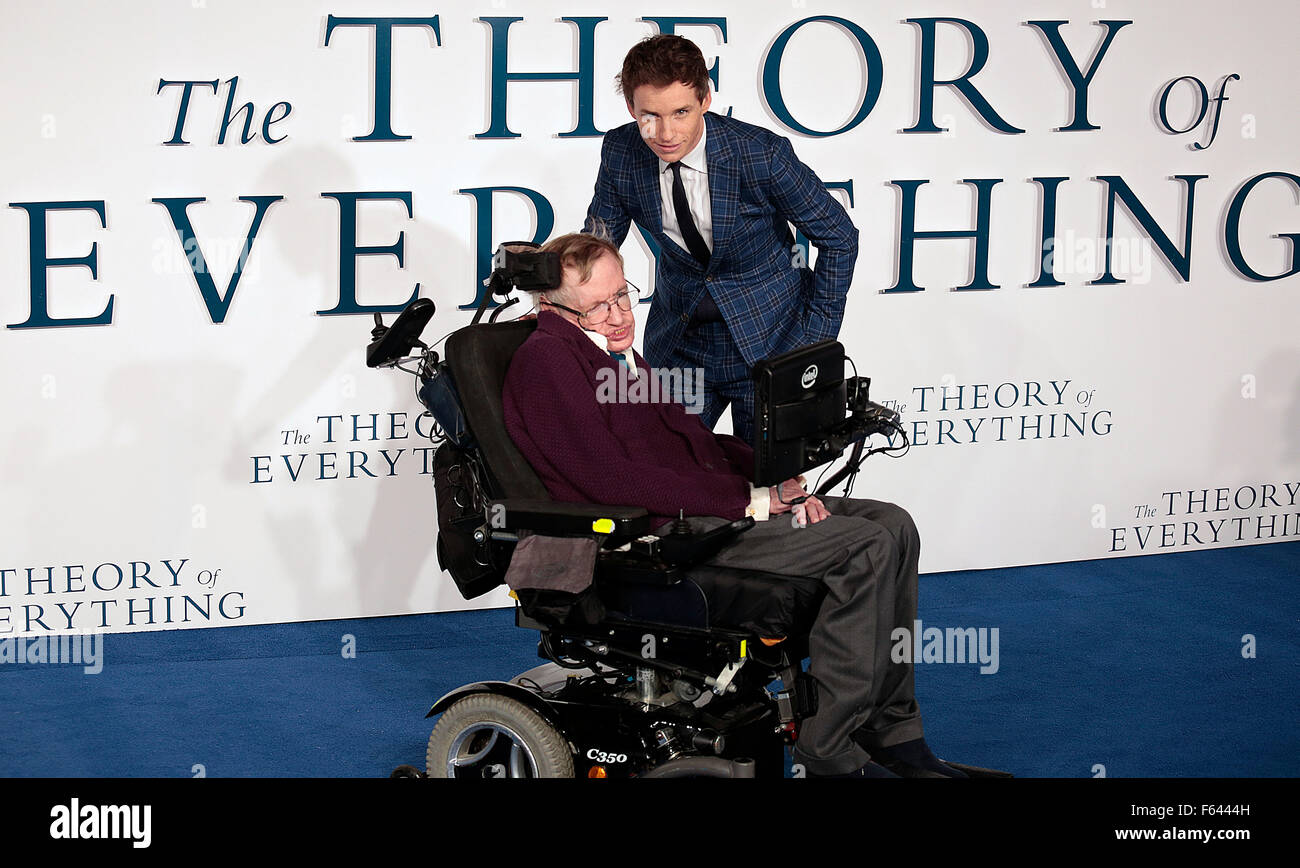 Dec 09, 2014 - London, England, UK - Professor Stephen Hawking and Eddie Redmayne attending The Theory Of Everything Stock Photo