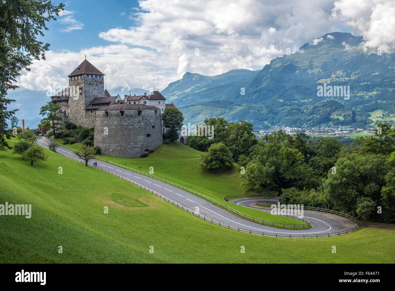 Vaduz Castle, the palace and official residence of the Prince of Liechtenstein. - Stock Image