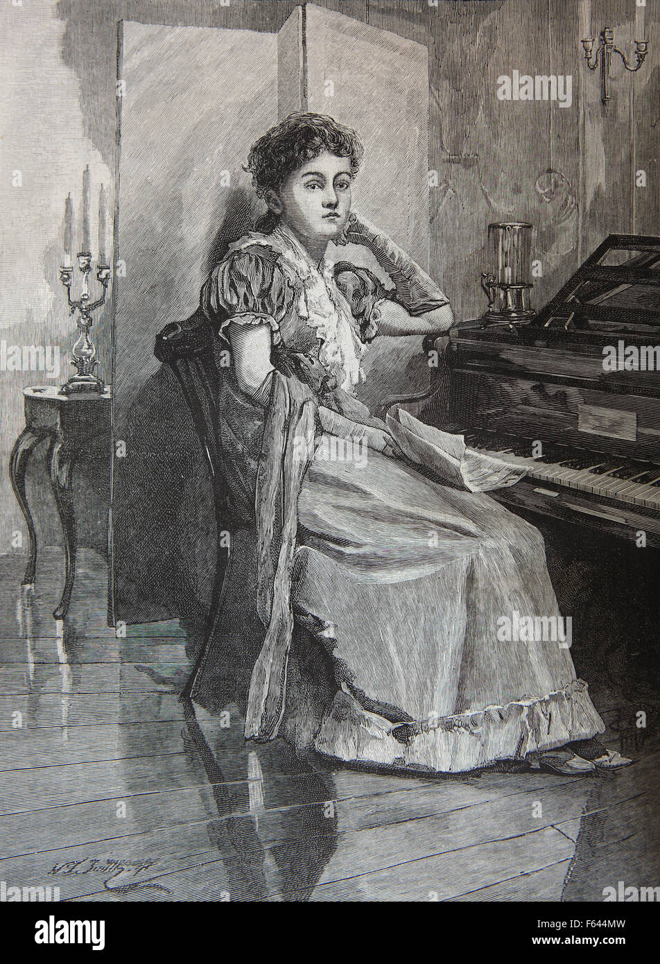 Victorian lady gazing into space in a whimsical fashion whilst seated at the piano - Stock Image