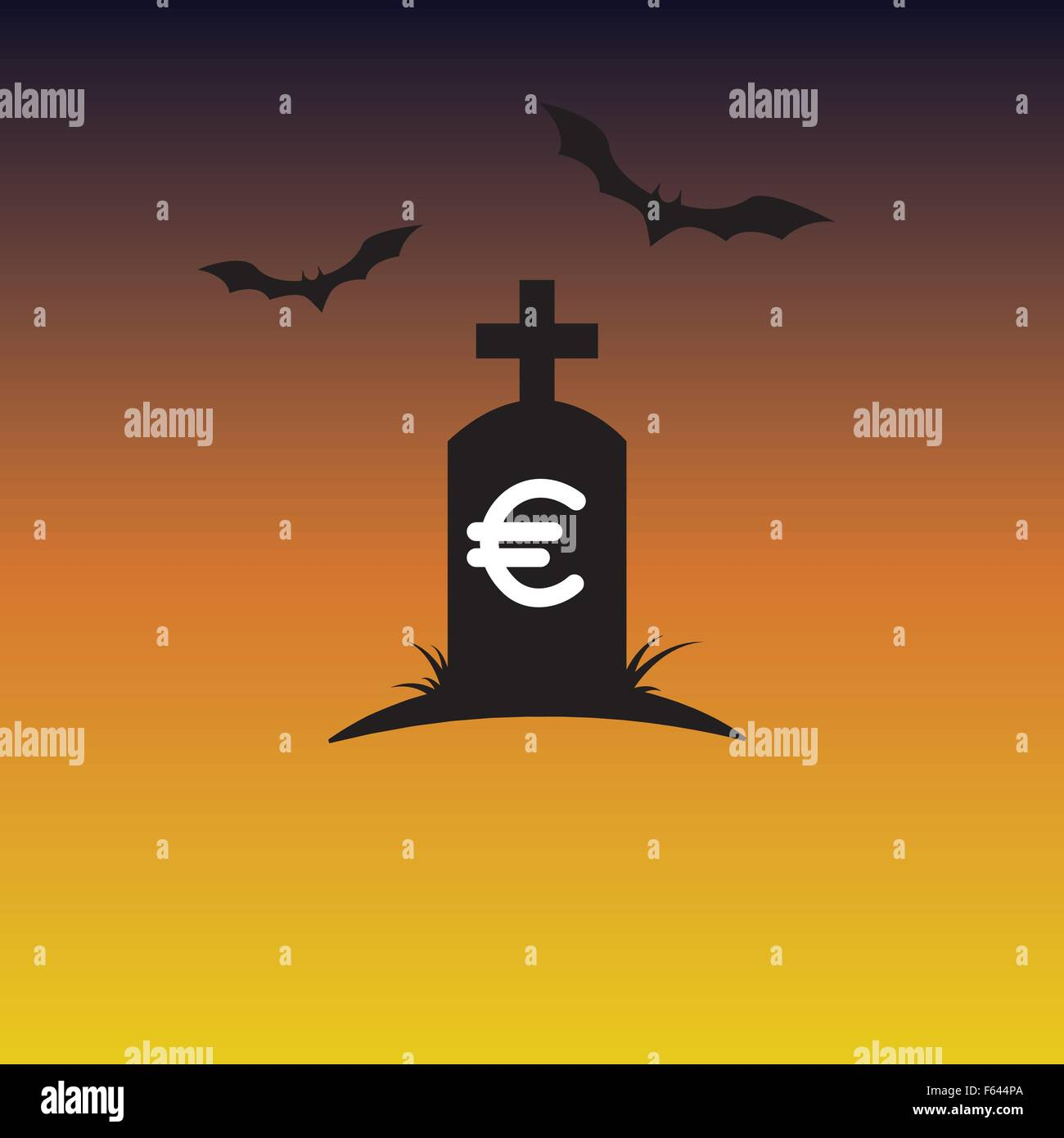 Euro currency graveyard - Stock Vector