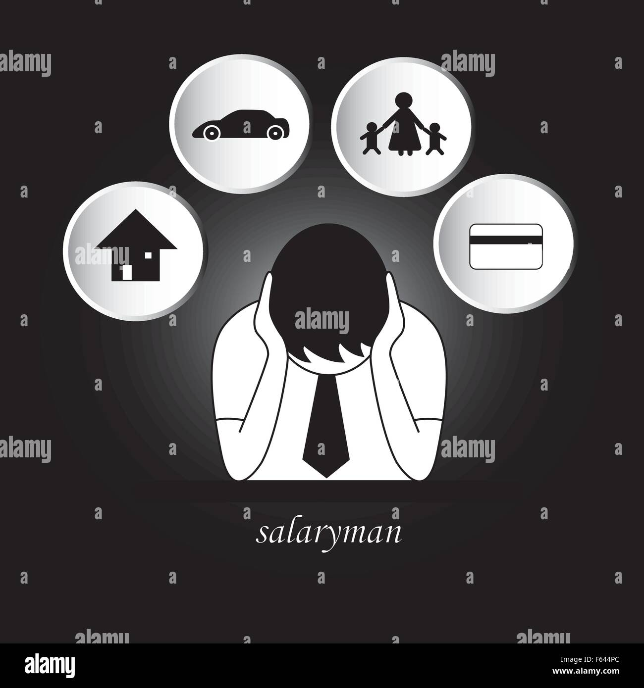 Salaryman worry about living expenses, house, car, family, credit card. ** can change background color ** - Stock Vector