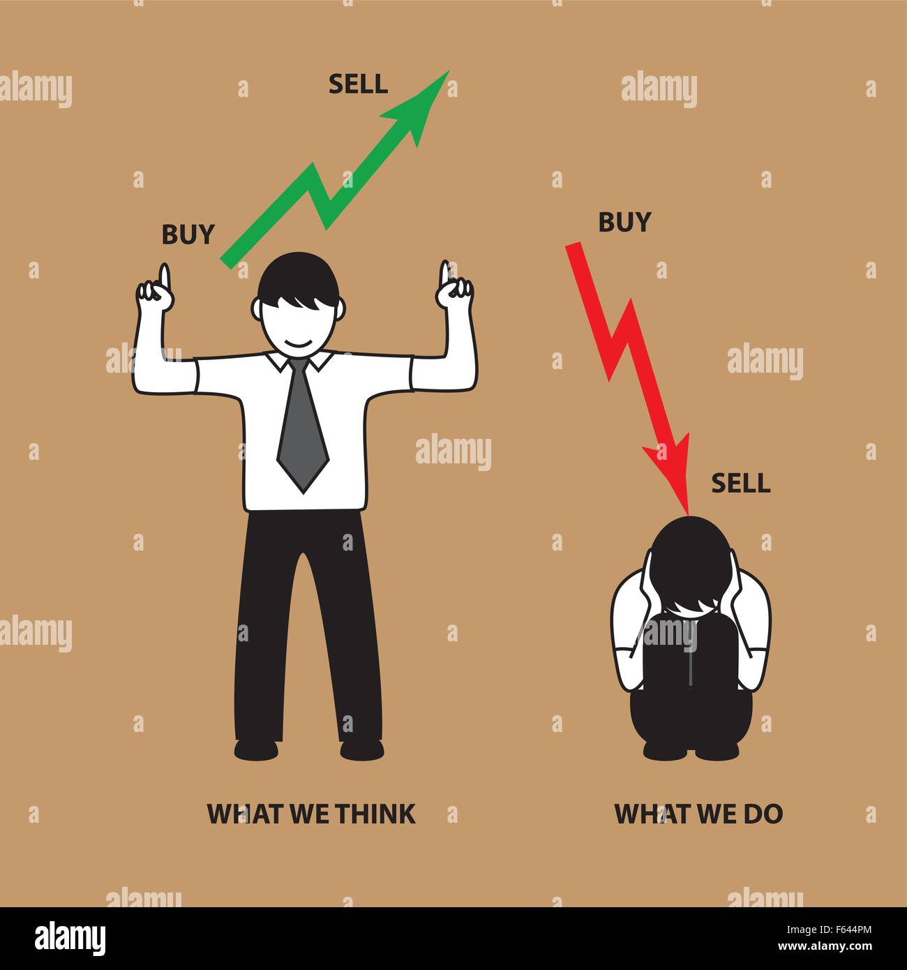 Common situation about stock market people. want profit but loss - Stock Vector