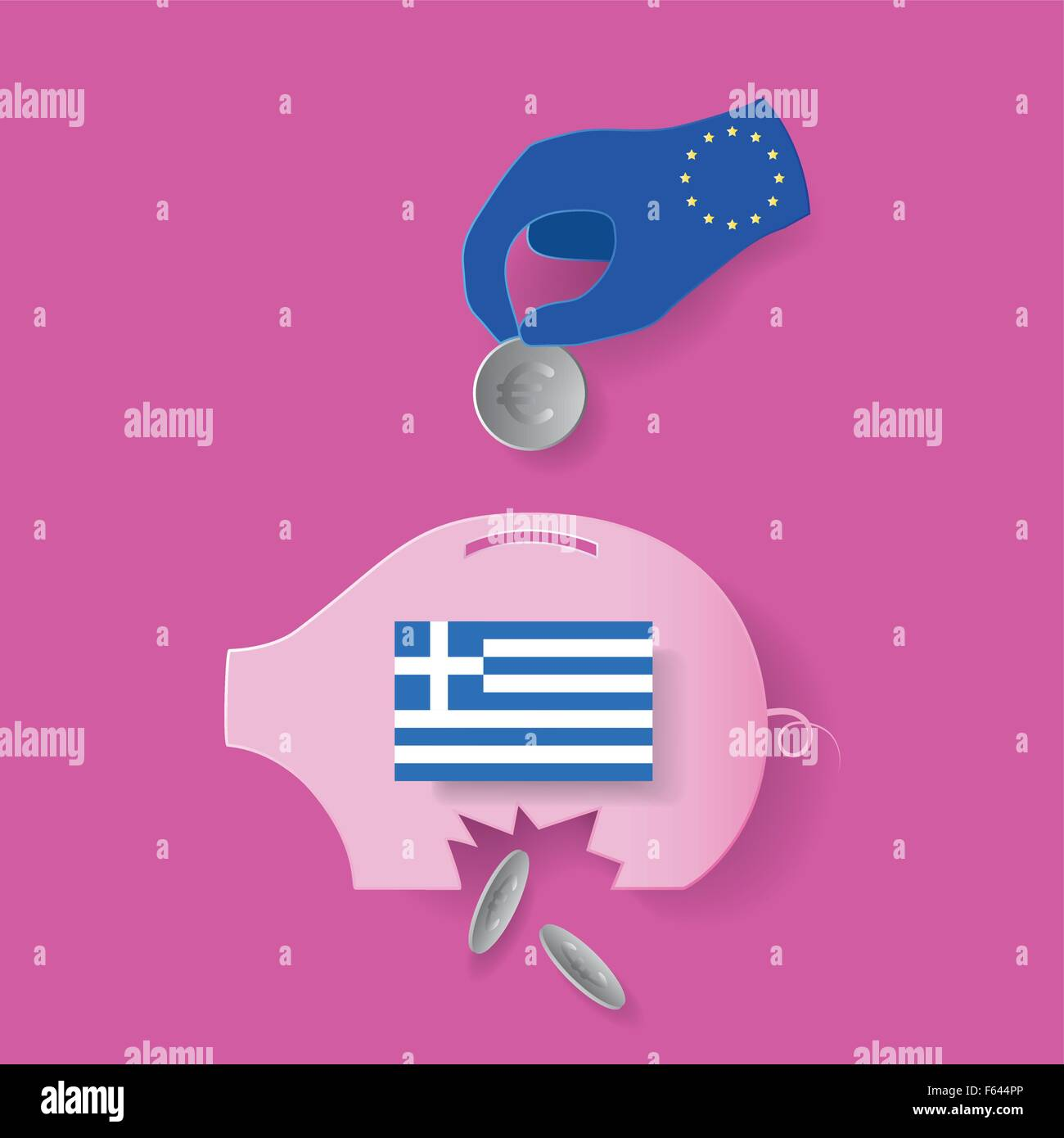 EU try to help greece crisis but useless - Stock Vector