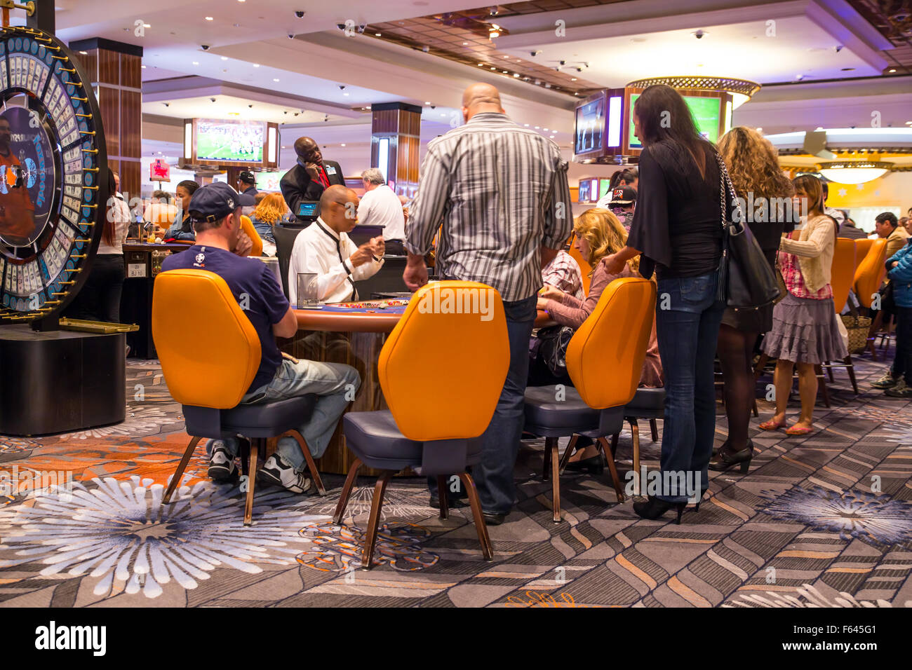 View of people gambling at gaming table at Foxwoods Casino. - Stock Image