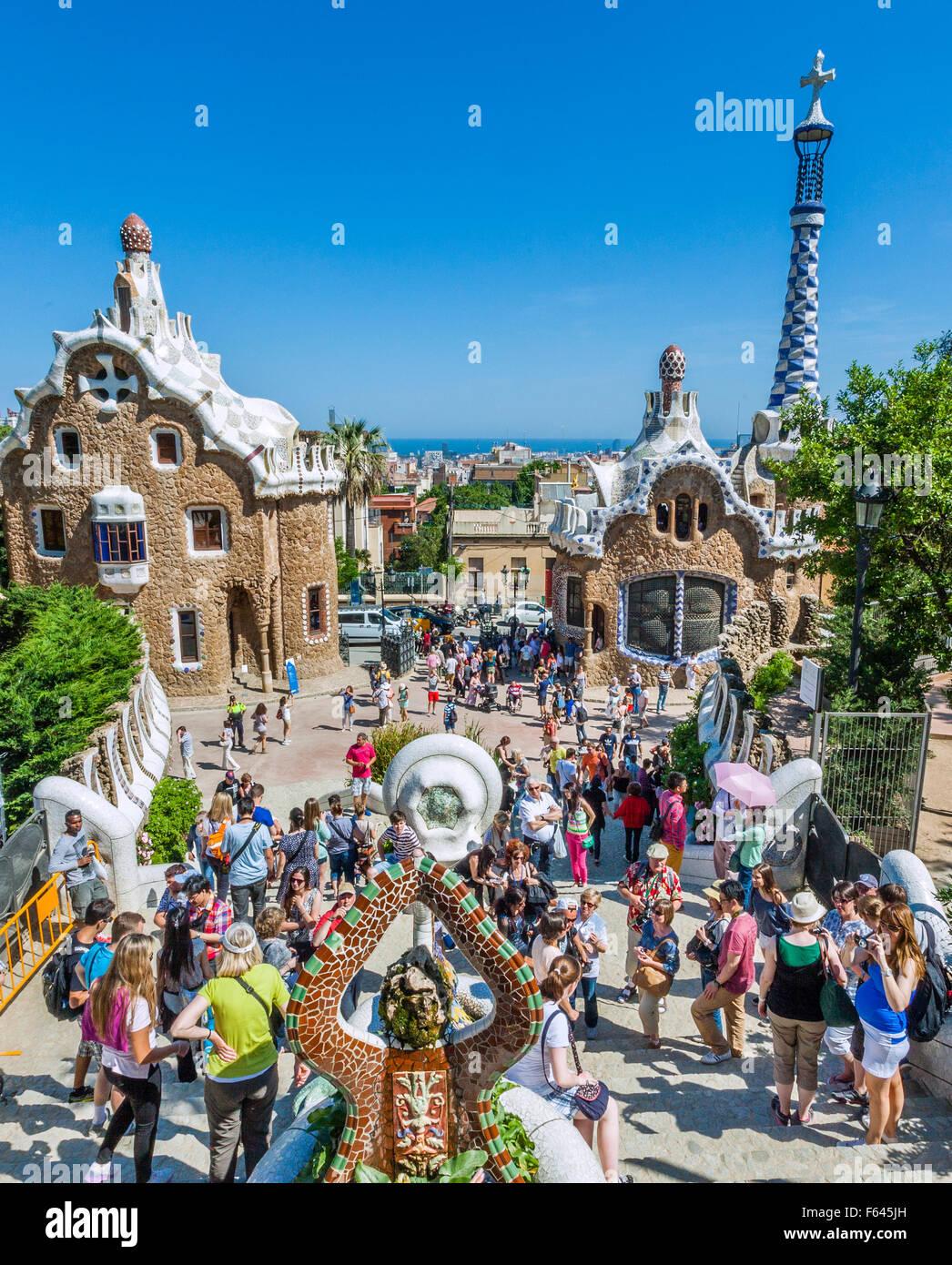 Spain, Catalonia, Barcelona, Gracia district, Park Güell, the dragon fountain at the park entrance is a popular - Stock Image