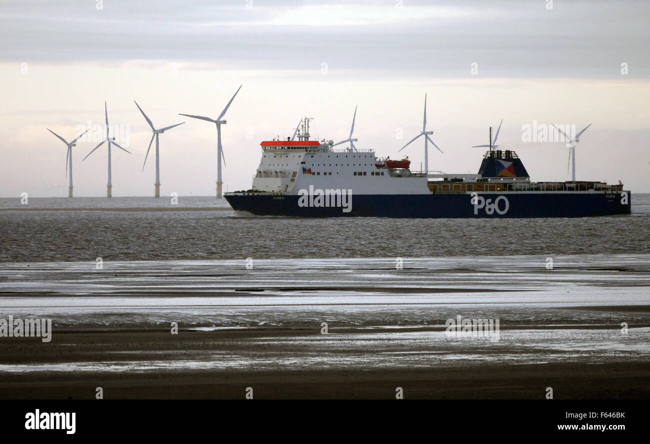 The Norbay P & O  Ferry sailing along the River Mersey on its way to Liverpool. Sister ship to Norbank, Norbay - Stock Image