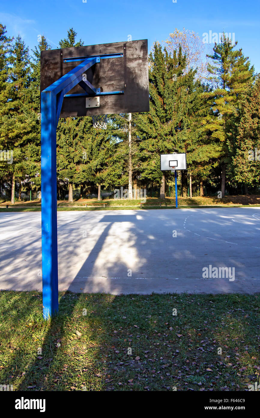 Outdoor Schoolyard Basketball Concrete Court No Players Stock Photo