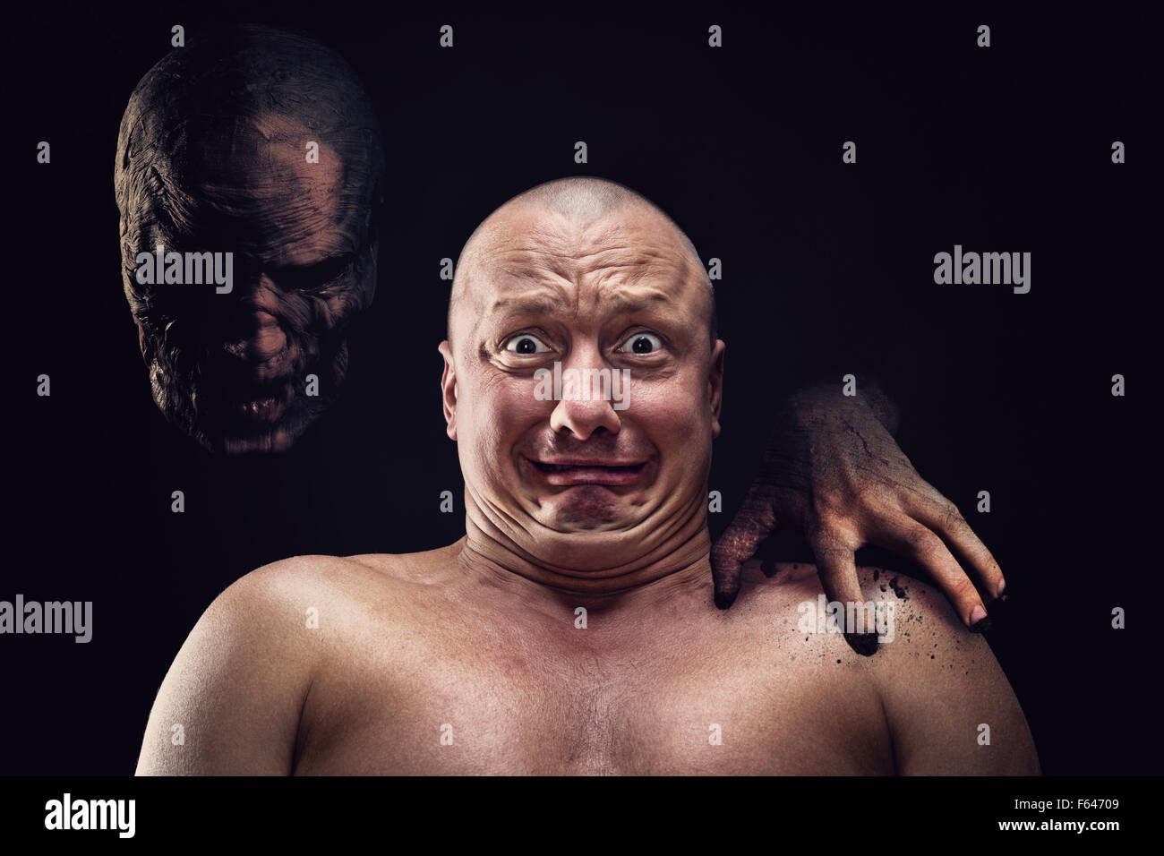 Portrait of bald scared man with nightmare - Stock Image