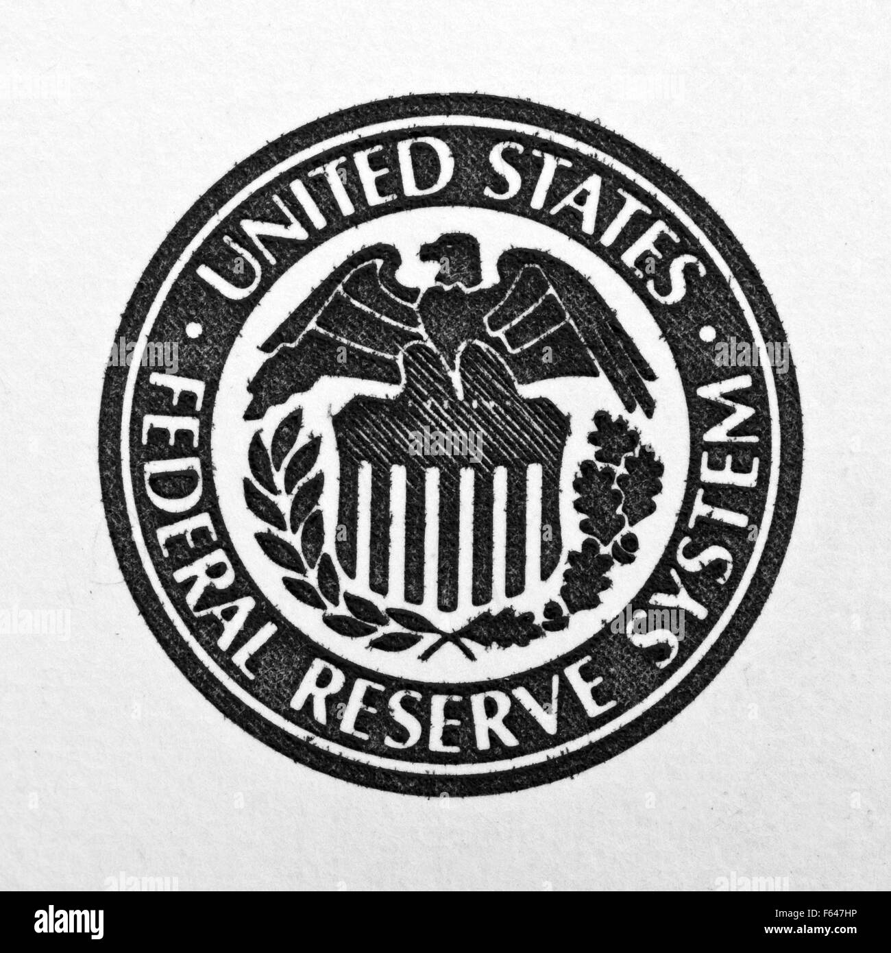 Close Up Of United States Federal Reserve System Symbol Stock