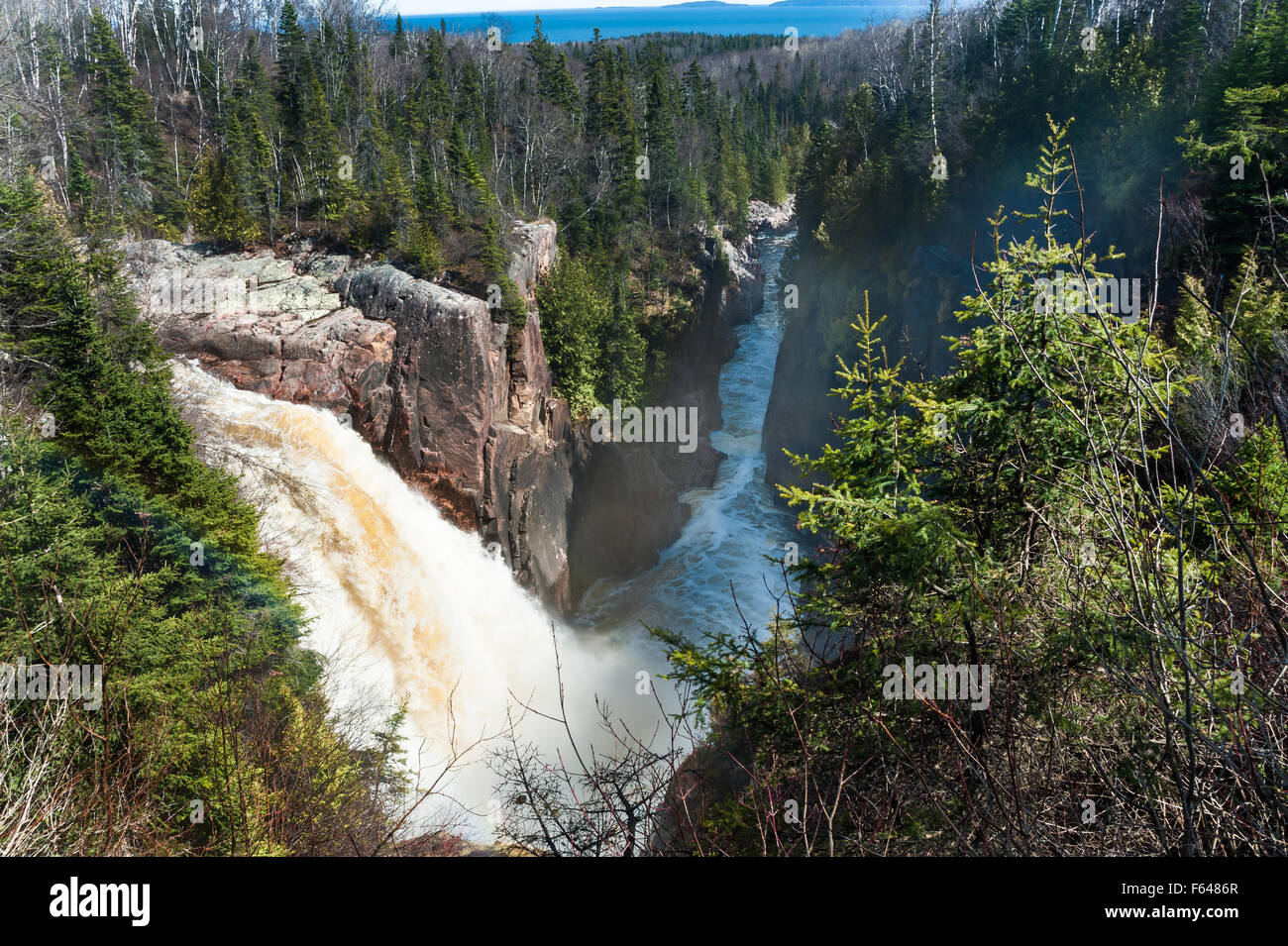 scenic view of waterfalls and boreal forest in Kenora, Ontario - Stock Image