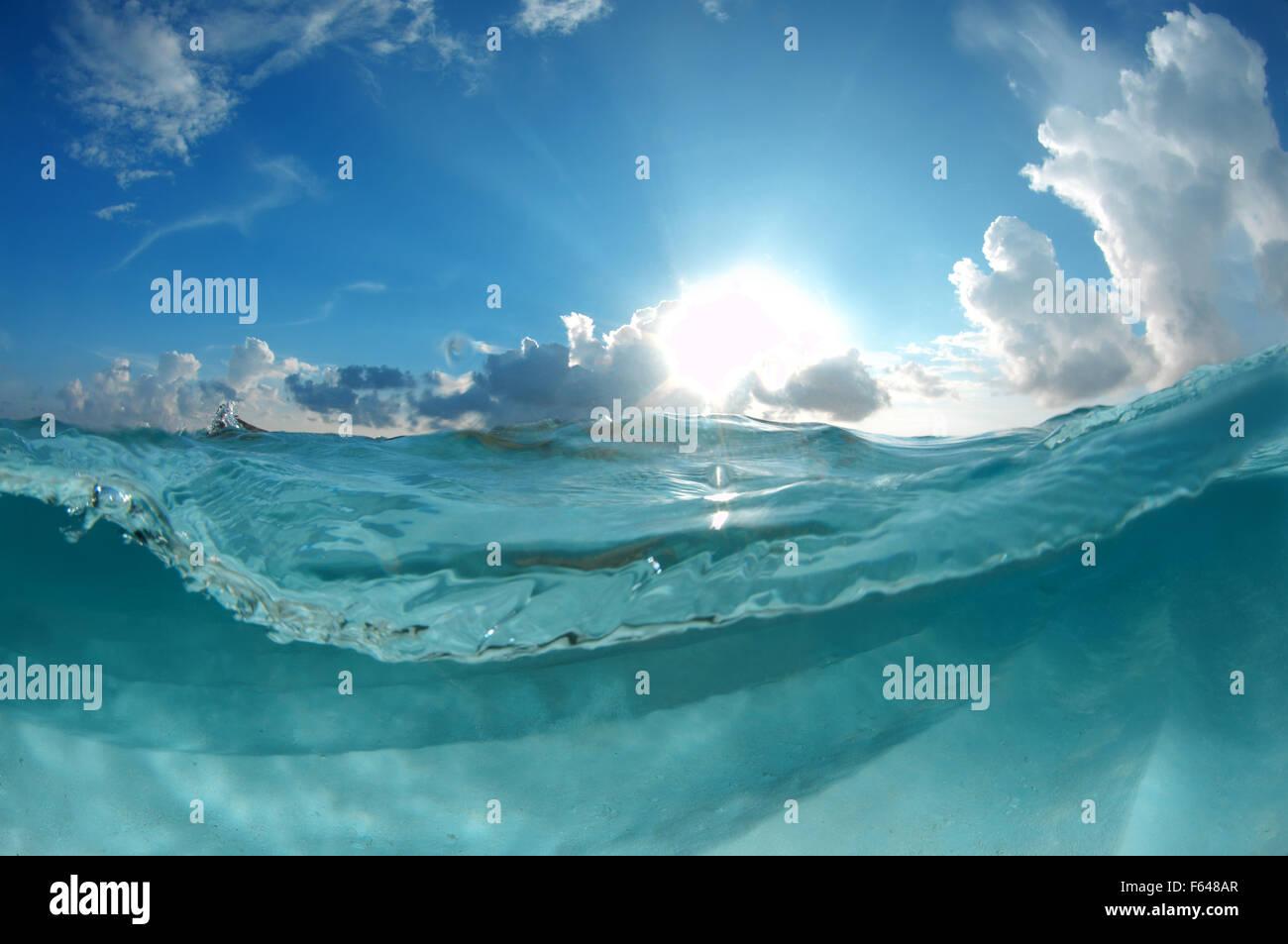 Split level underwater landscape, Indian Ocean, Maldives - Stock Image