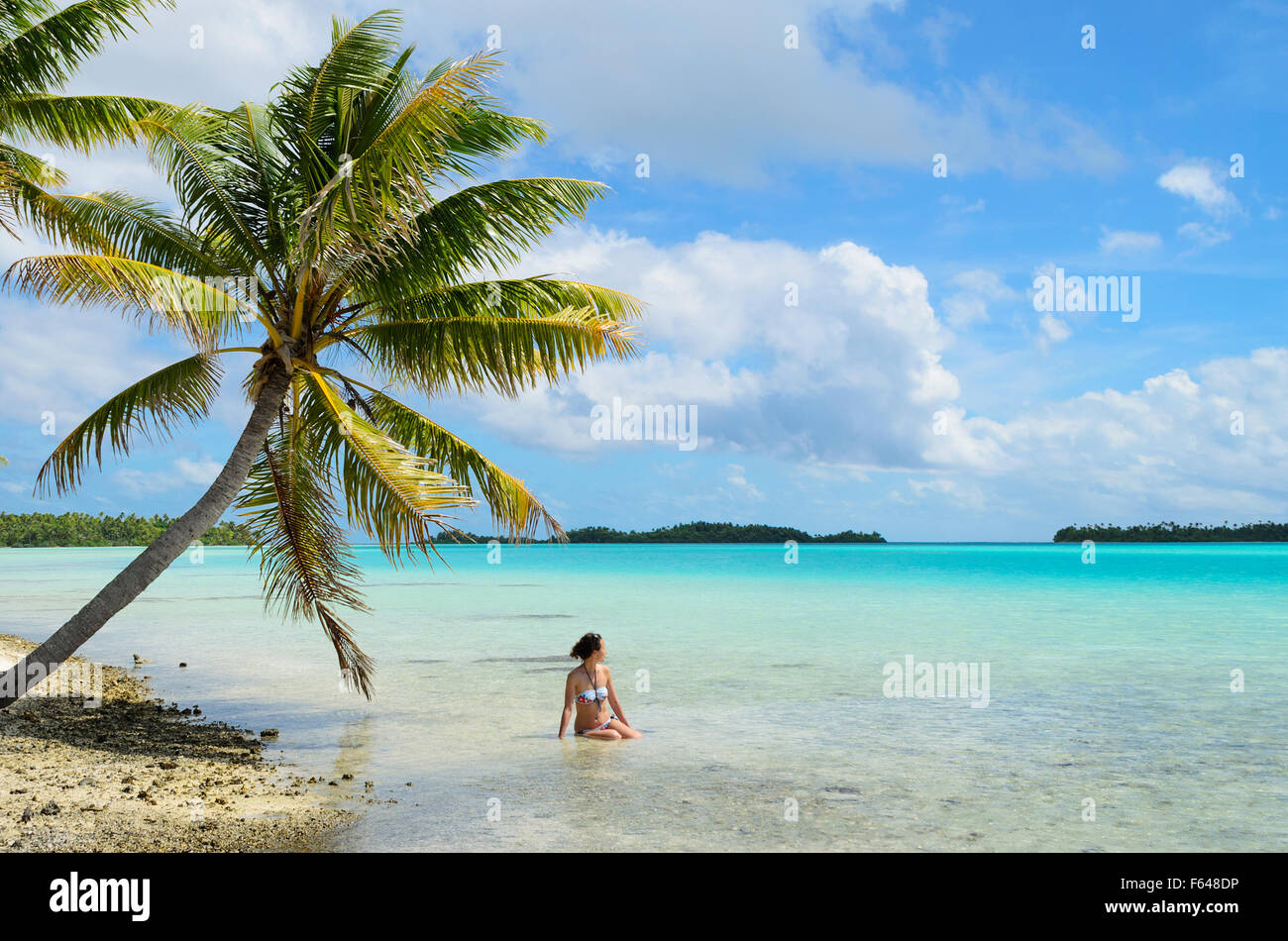 Female tourist bathing in the shallow water of the sea under a palm tree on a beach on a desert island in the lagoon - Stock Image