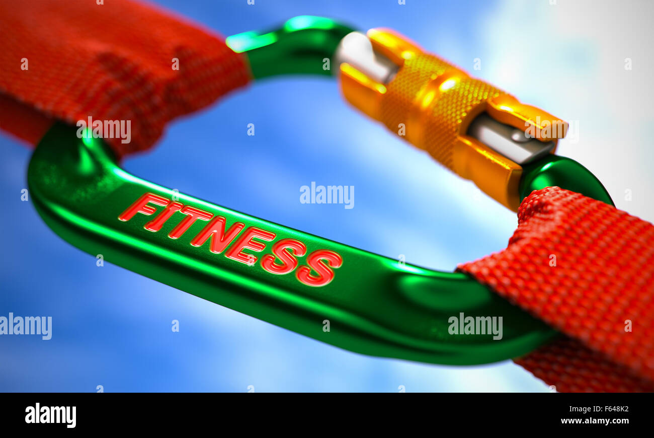 Green Carabiner between Red Ropes on Sky Background, Symbolizing the Fitness. Selective Focus. - Stock Image