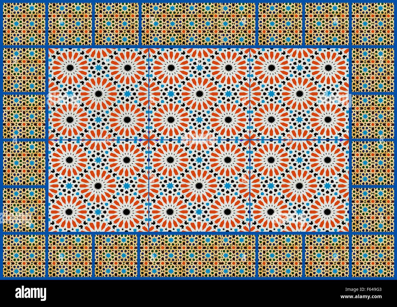 Collage Moorish geometric design wall tiles - Stock Image