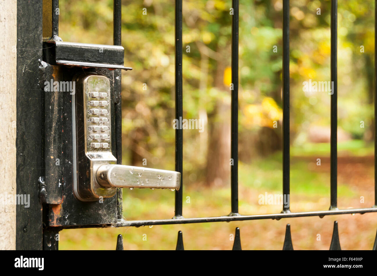A Lock With A Keypad And Security Code On An Outside Gate