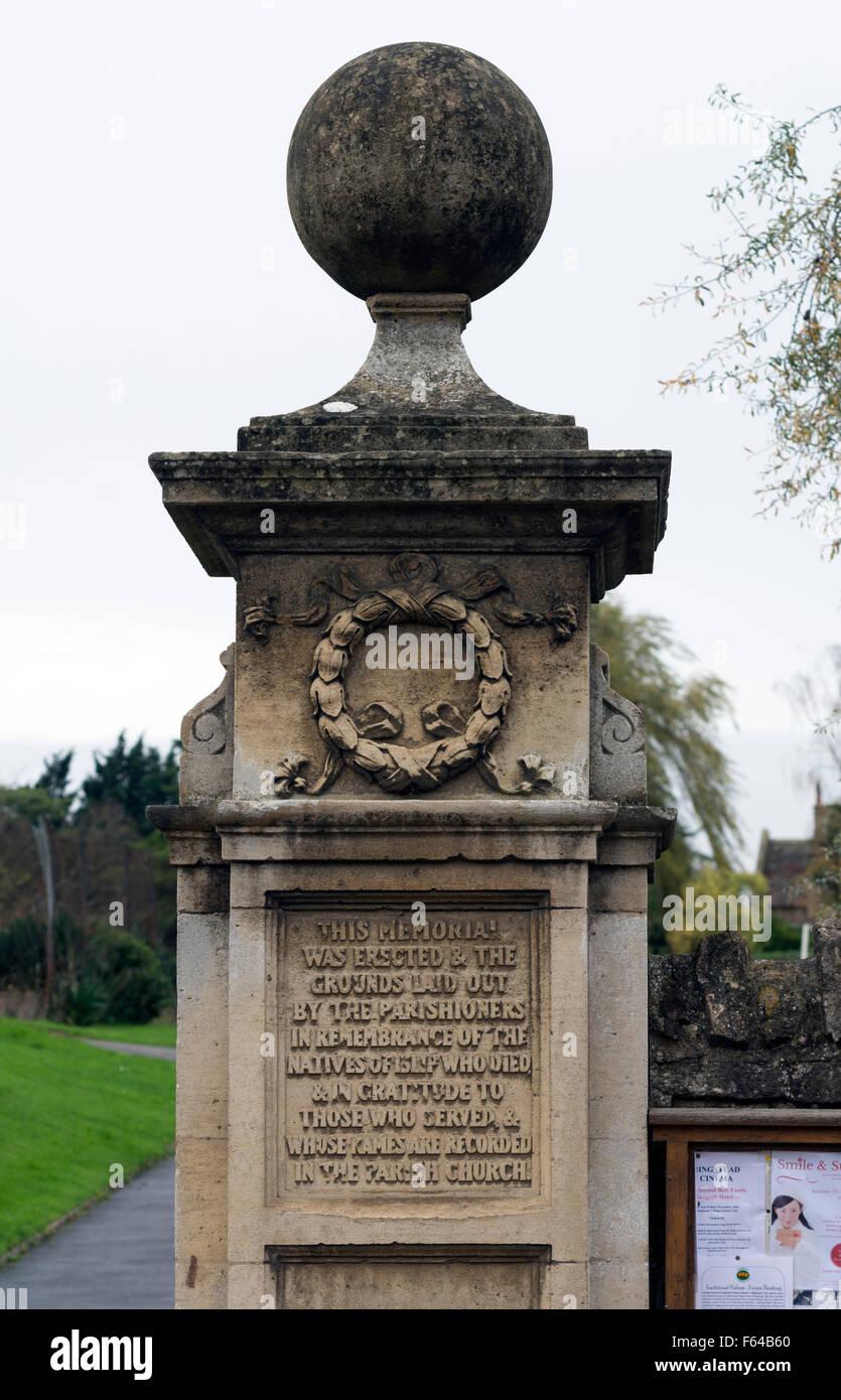 Recreation ground memorial gatepost, Islip, Northamptonshire, England, UK - Stock Image