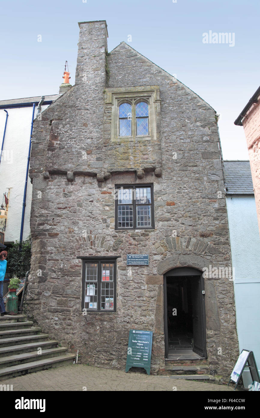 Tudor Merchant's House (from PRW), Quay Hill, Tenby, Pembrokeshire, Dyfed, Wales, Great Britain, United Kingdom - Stock Image