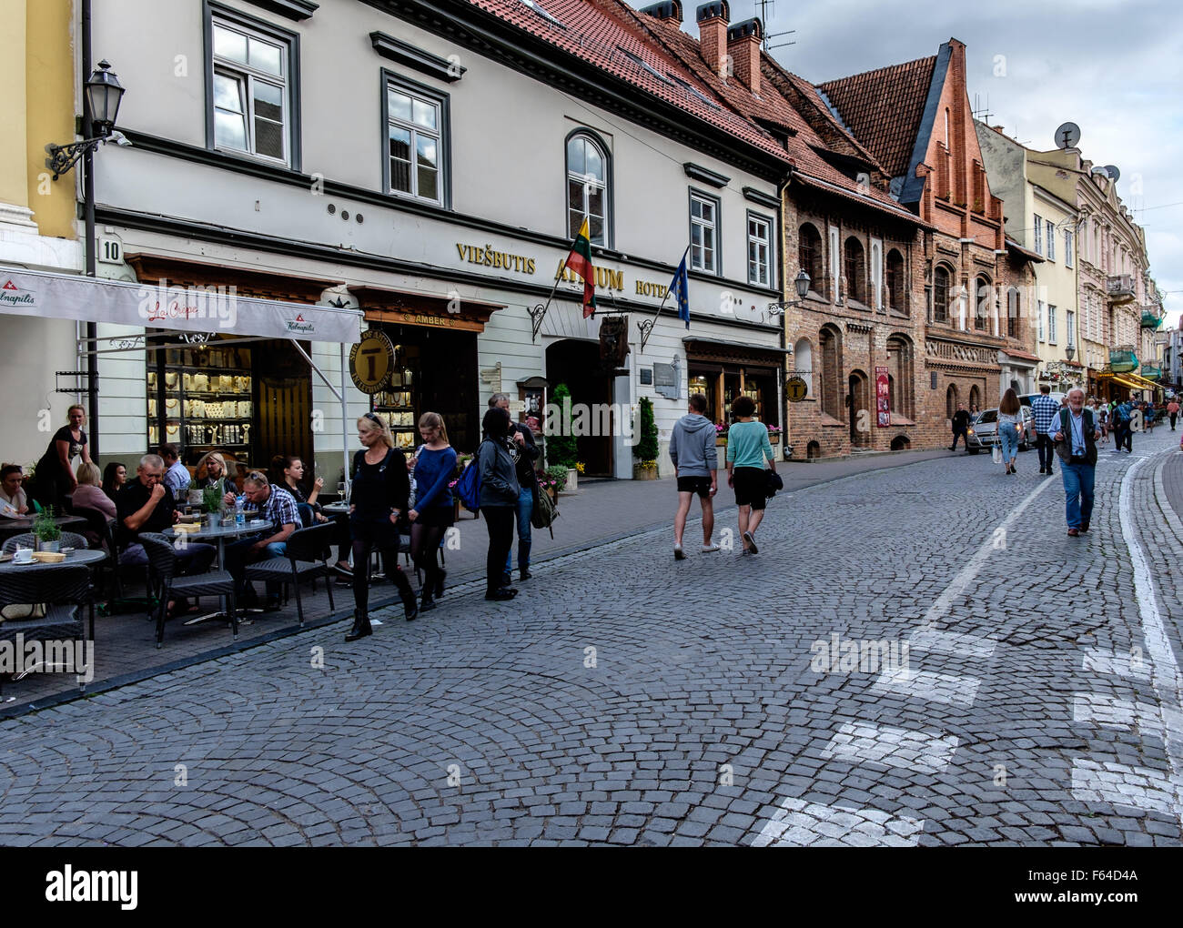 Street with sidewalk cafes in Villnius, Lithuania - Stock Image