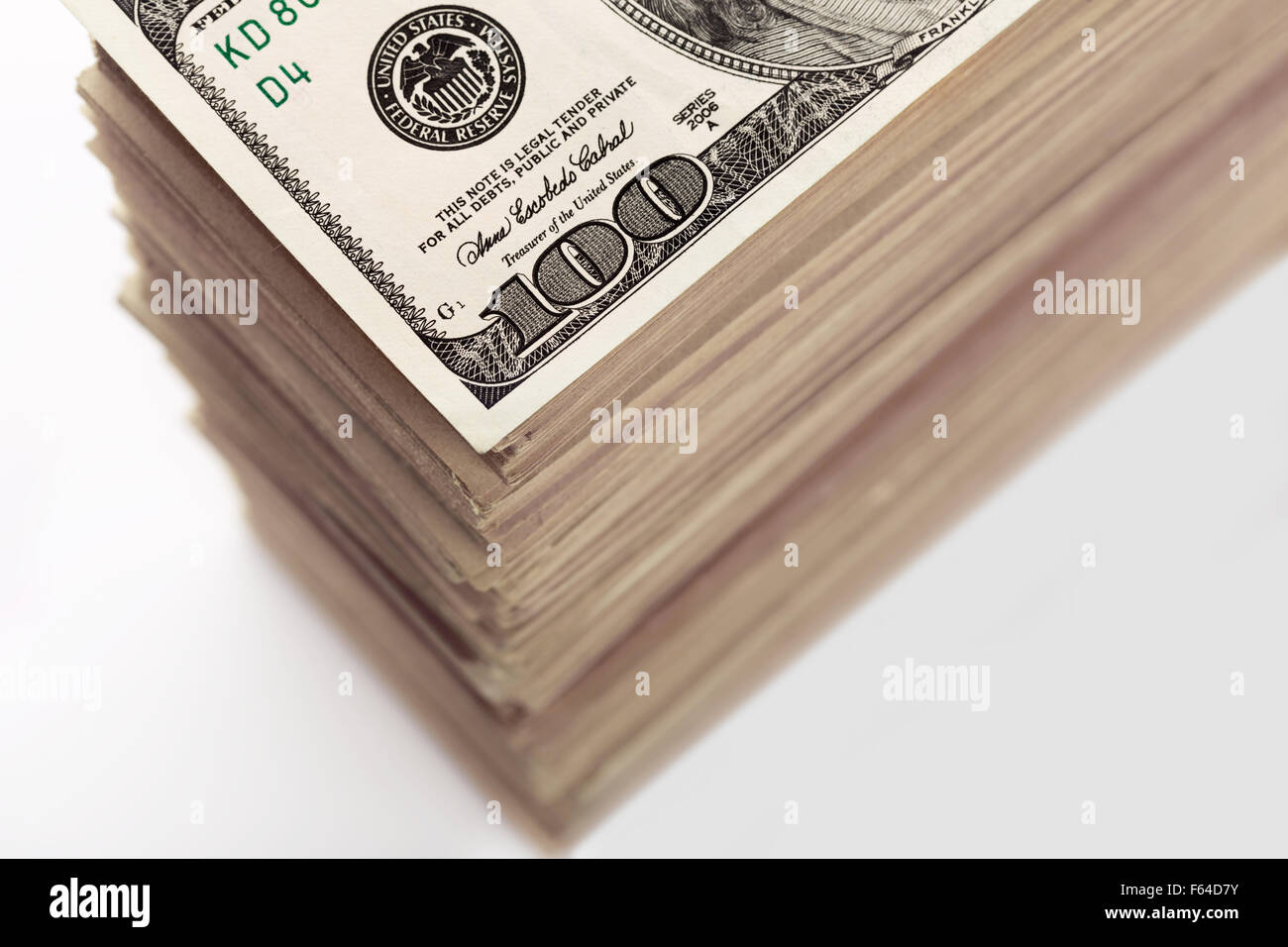 Crop of big stack of dollar banknotes closeup - Stock Image