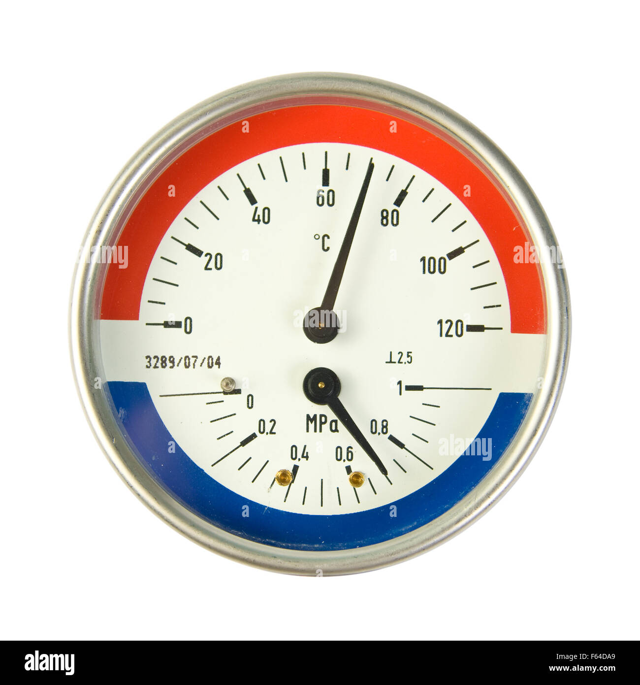 Temperature and pressure meter. Isolated on white - Stock Image