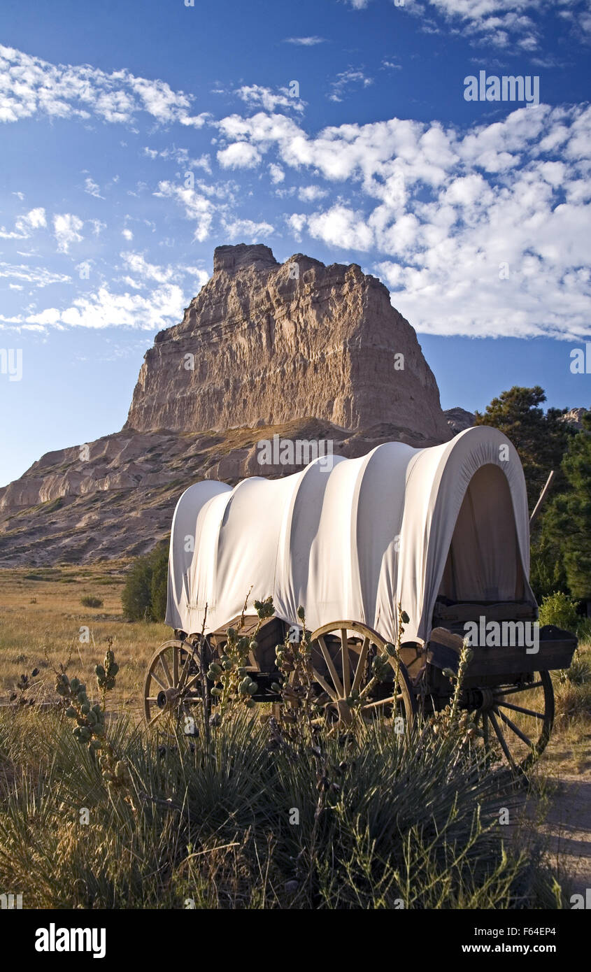 Towering eight hundred feet above the North Platte River, Scotts Bluff was a natural landmark for many 19th century - Stock Image