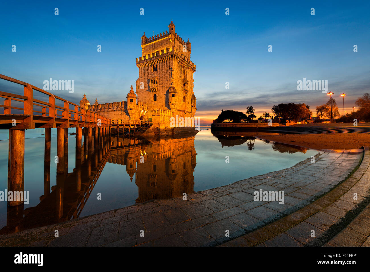 Belem Tower in Lisbon at sunset Stock Photo