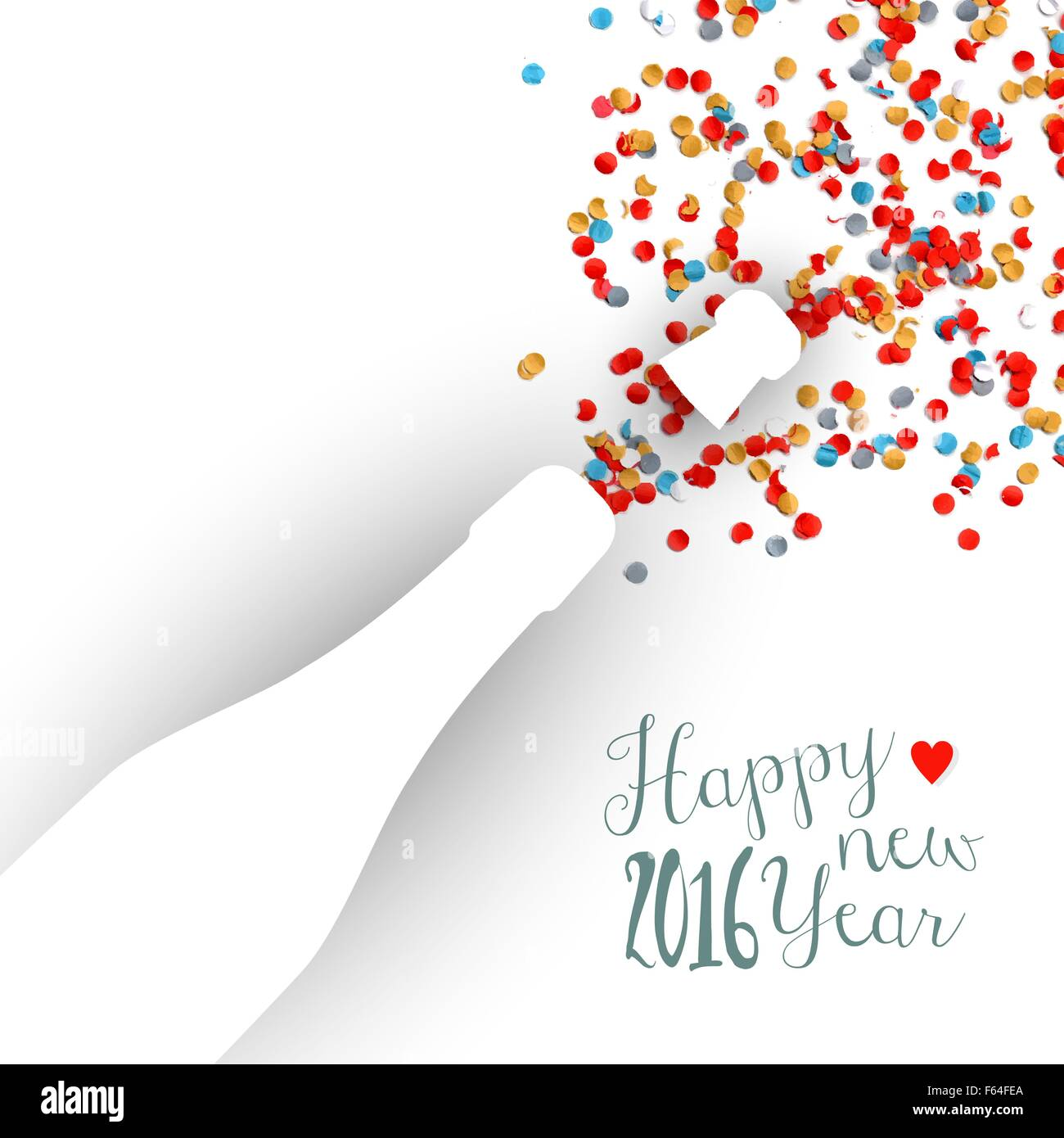 happy new year eve 2016 colorful celebration champagne bottle and confetti background ideal for holiday greeting card or party