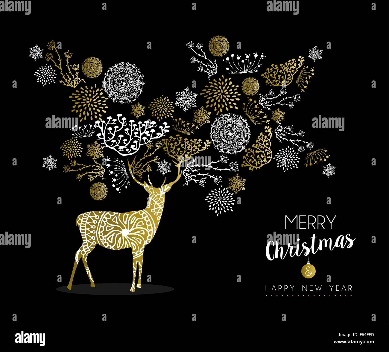 merry christmas happy new year luxury golden deer design on black background with nature elements and label ideal for card