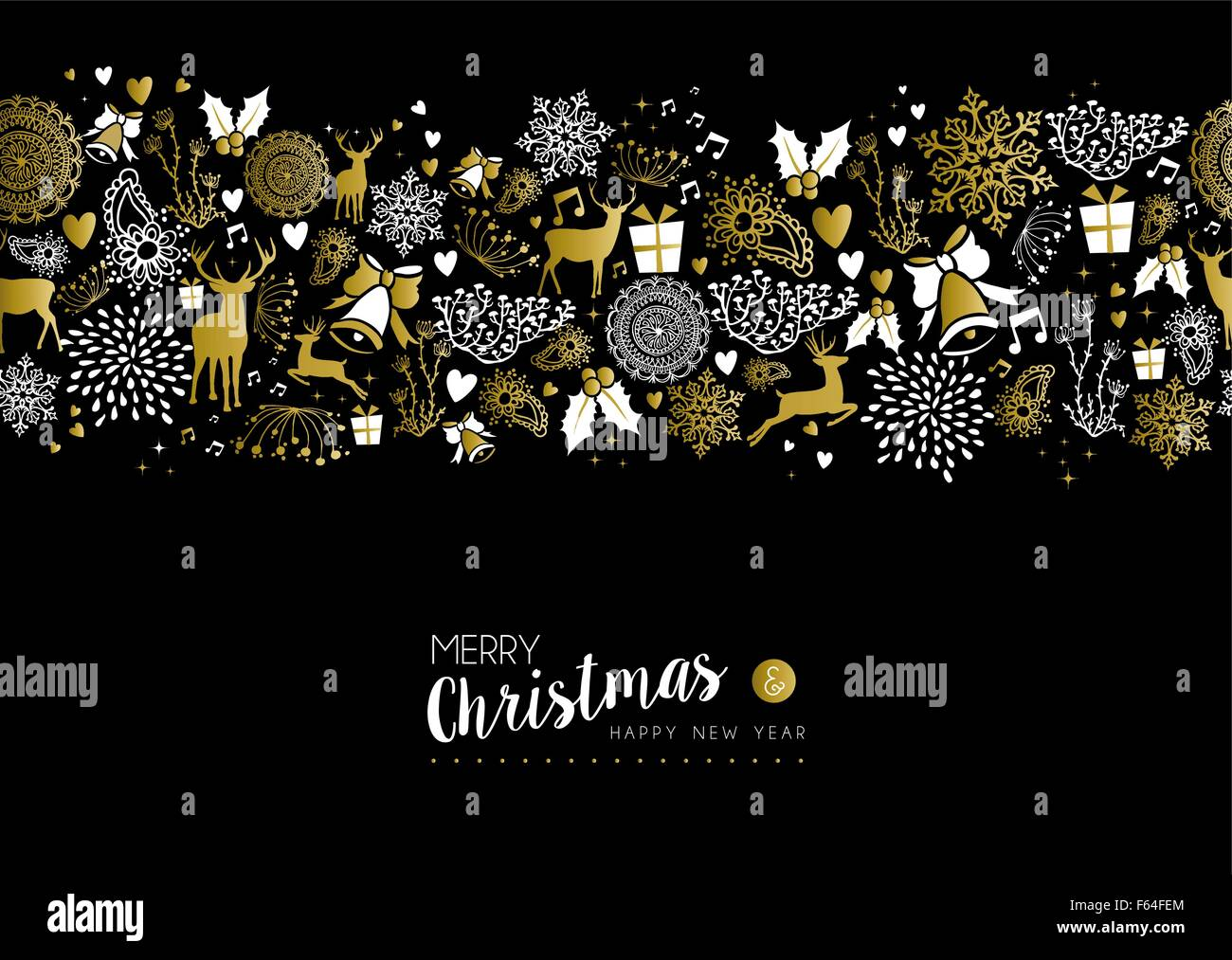 Merry Christmas Happy New Year Luxury Gold Seamless Pattern On Black Background With Deer Nature And Holiday Elements