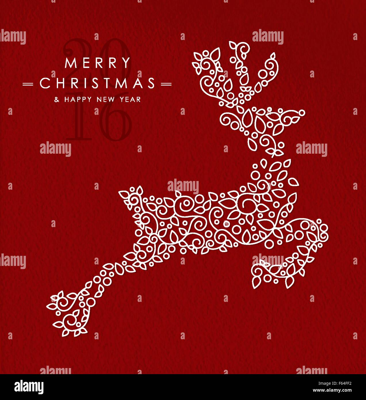 merry christmas happy new year 2016 greeting card background linear reindeer jumping with monogram decoration ornament