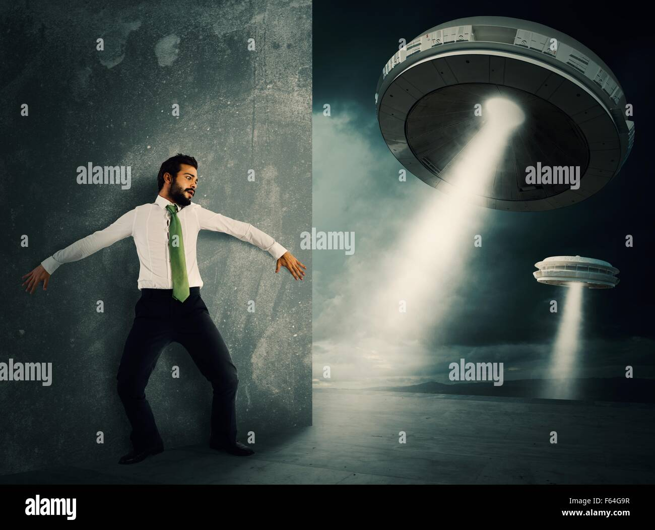 Frightened by UFO - Stock Image
