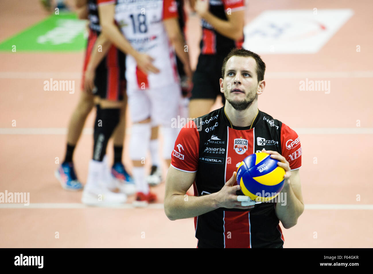 Belchatow, Poland. 11th November 2015. Bartosz Kurek of Asseco Resovia Rzeszow pictured during the game with PGE - Stock Image