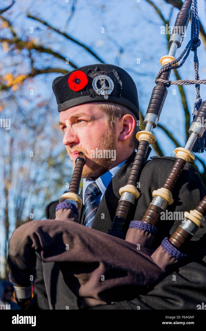 November, 11, 2015, Bagpiper at Remembrance Day, Ceremonies..Vancouver, British Columbia, Canada, - Stock Image