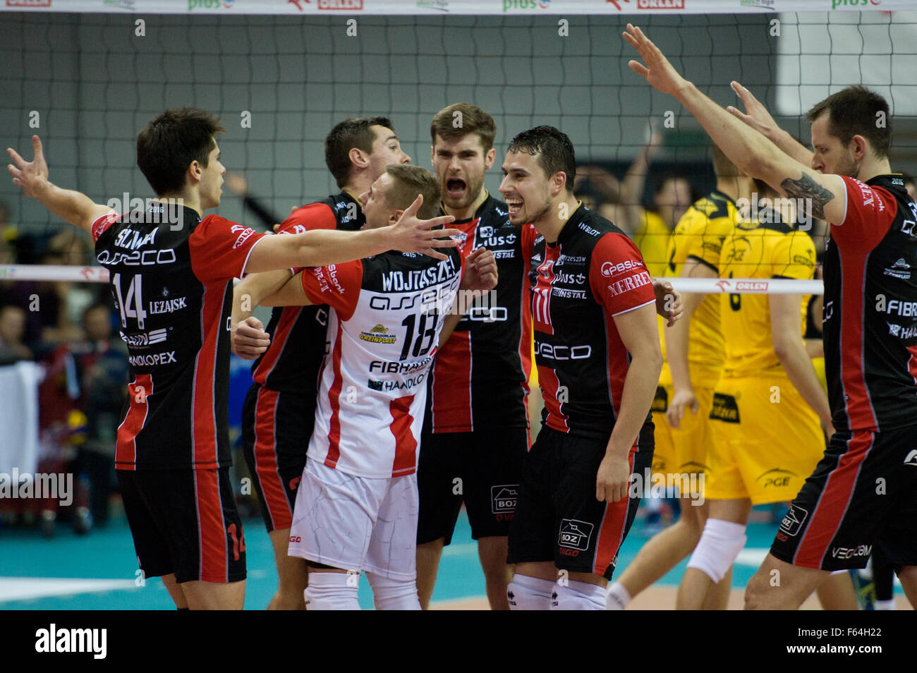 Belchatow, Poland. 11th November 2015. Team Asseco Resovia Rzeszow during game with PGE Skra Belchatow in Plus Liga - Stock Image