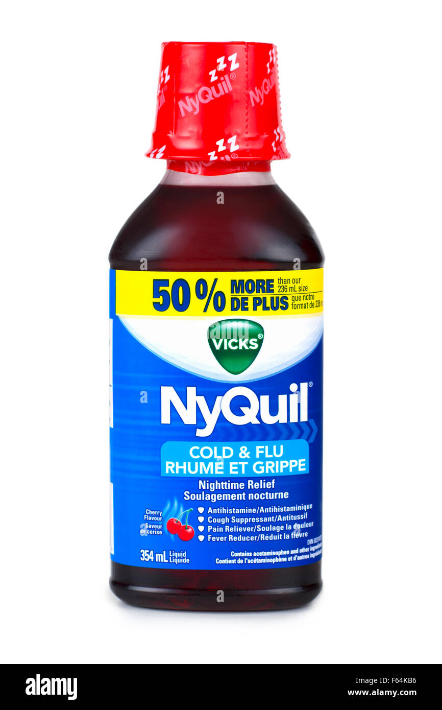 Cough Syrup, Cold and Flu Syrup Bottle - Stock Image