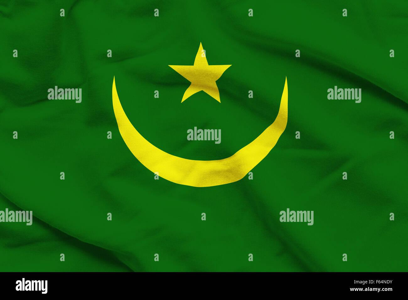 Wavy and rippled national flag of Mauritania background. - Stock Image