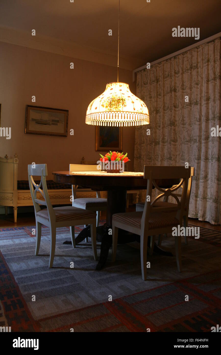 A View Of The Dining Room With Table And Seating Arrangements Late Swedish Childrens Book Author Astrid Lindgren In Her Apartment Stockholm Sweden