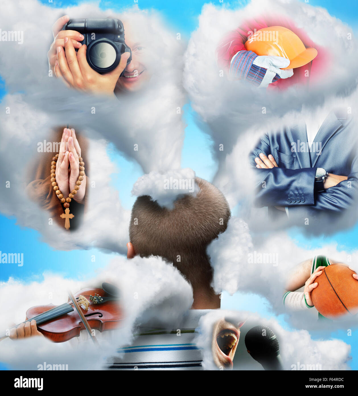 Men head in clouds imagines various professions - Stock Image