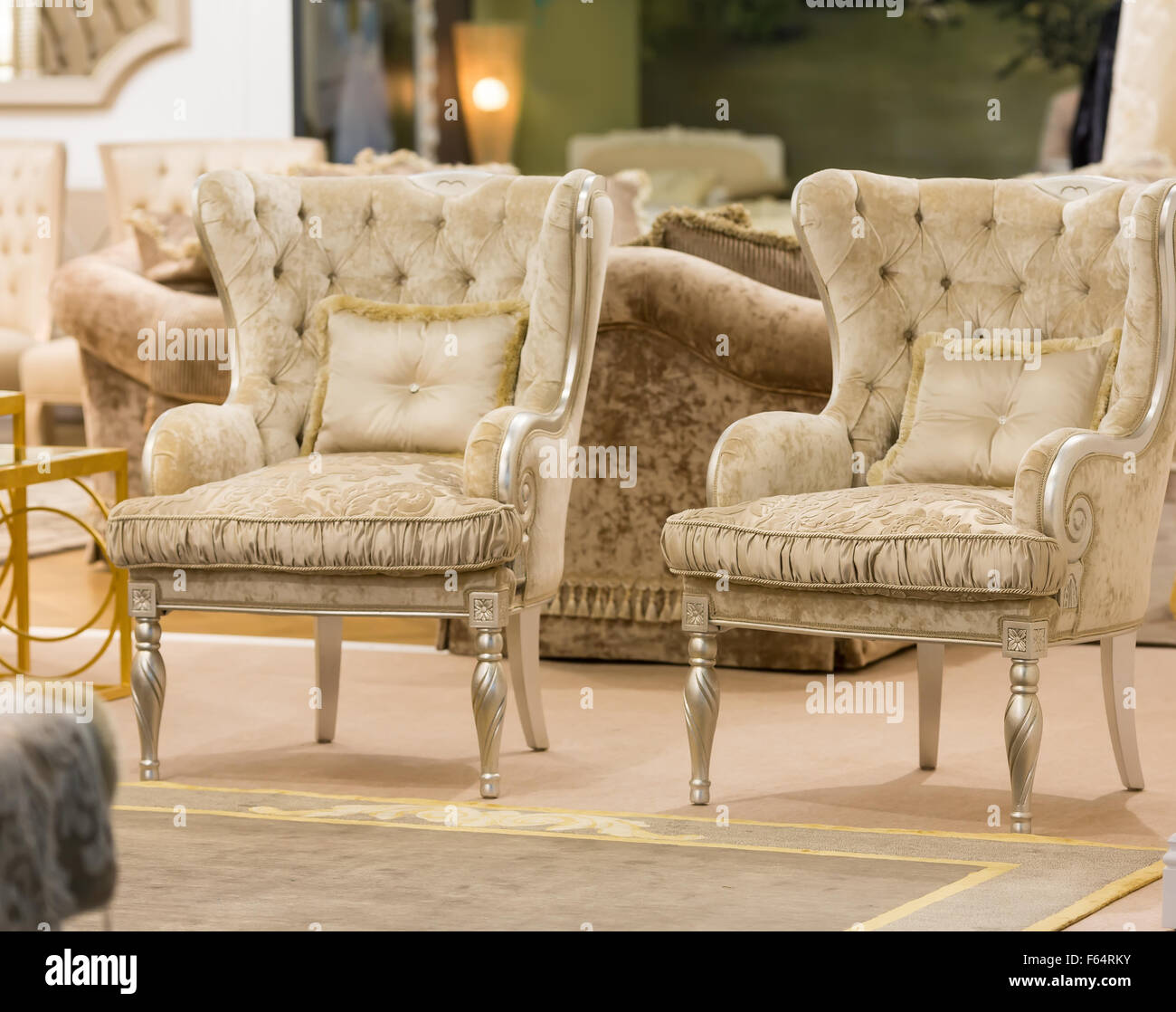 Modern living room with two luxury armchairs Stock Photo ...