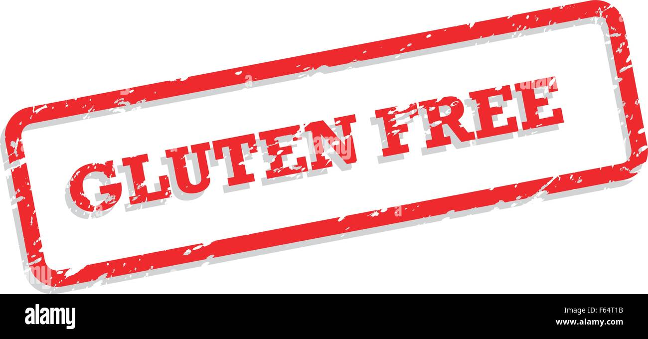 Red rubber stamp vector for gluten free food concept - Stock Image