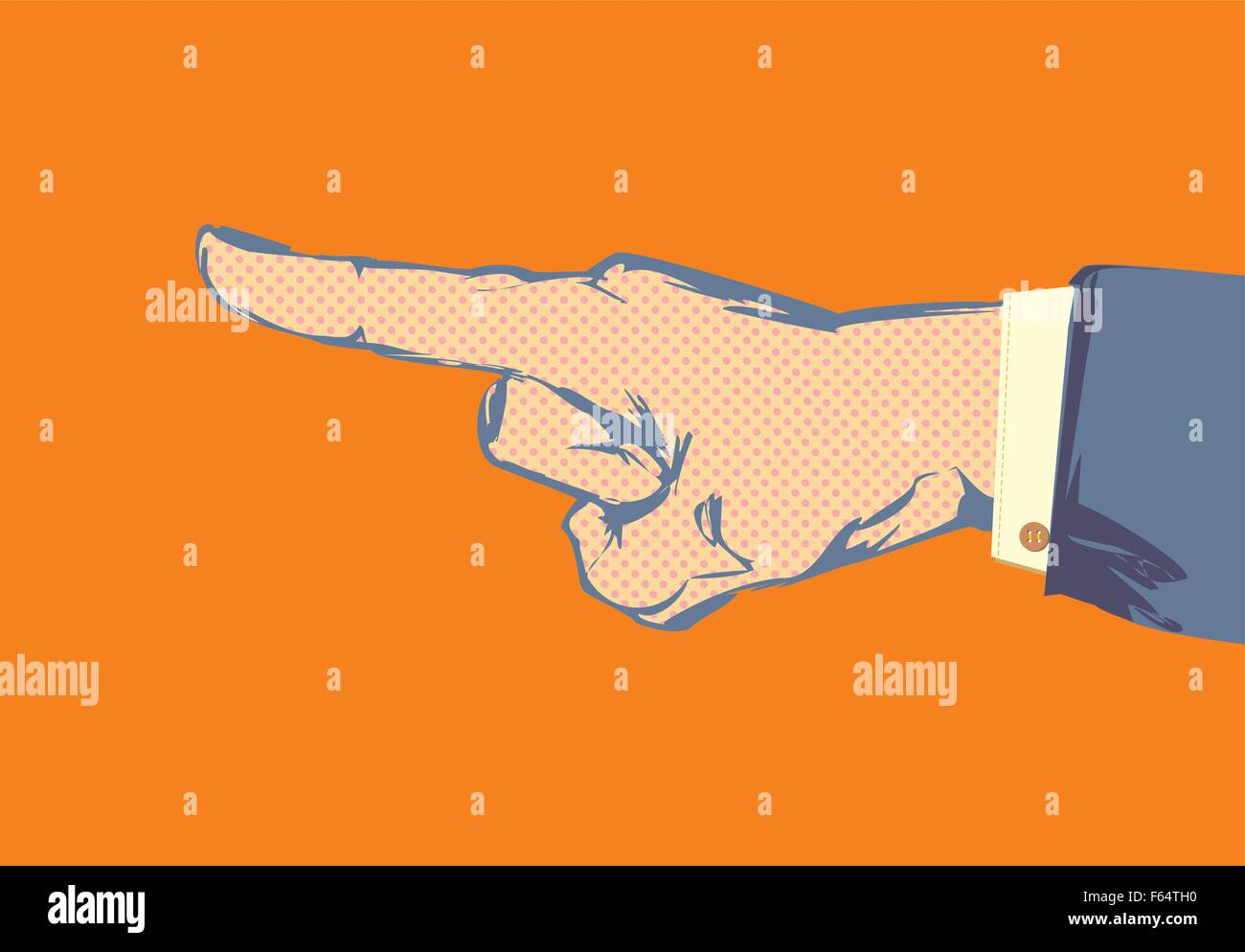 Sketched hand and finger pointing with suit jacket and shirt sleeve - Stock Vector