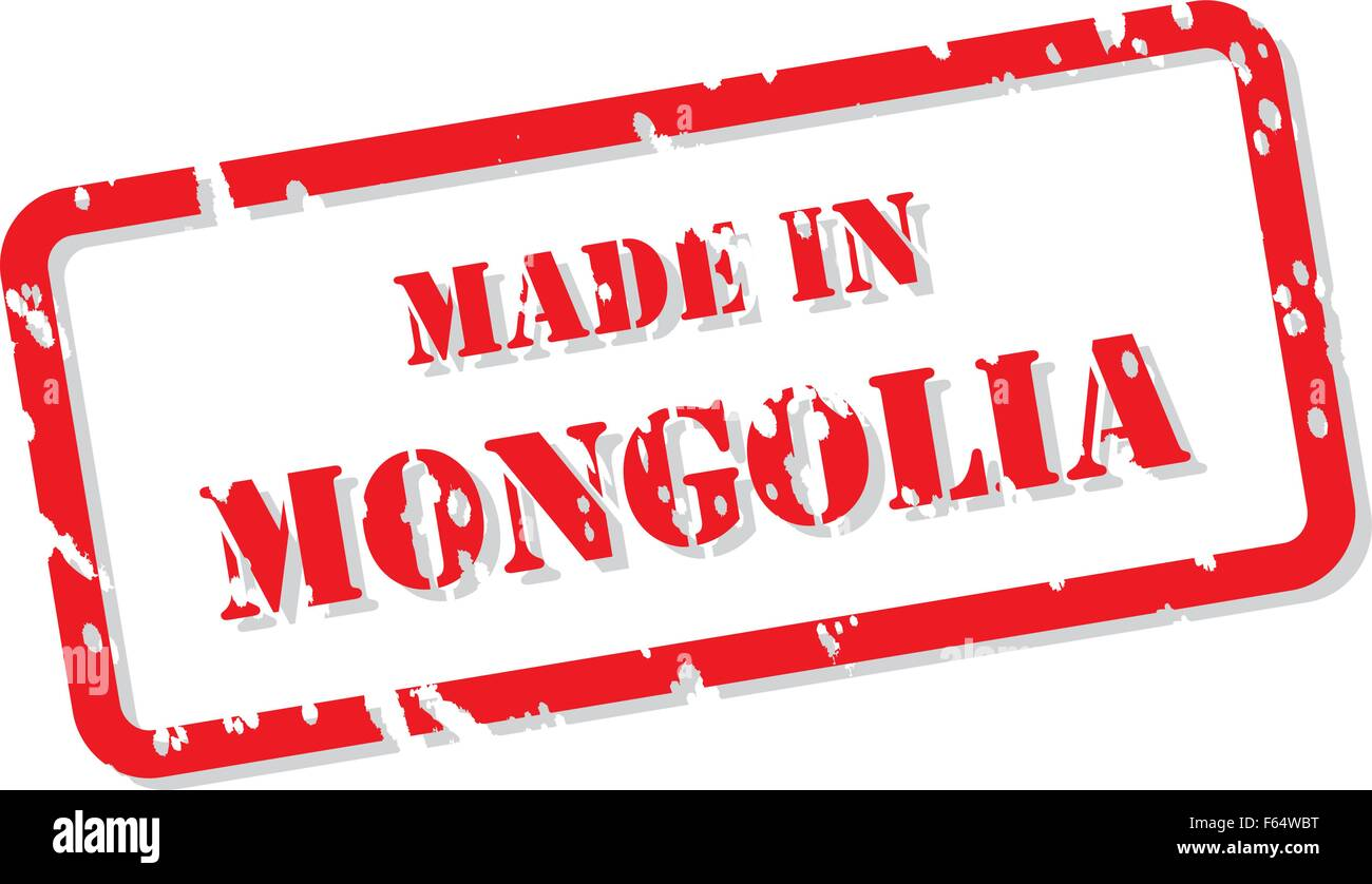 Red rubber stamp vector of Made In Mongolia Stock Vector