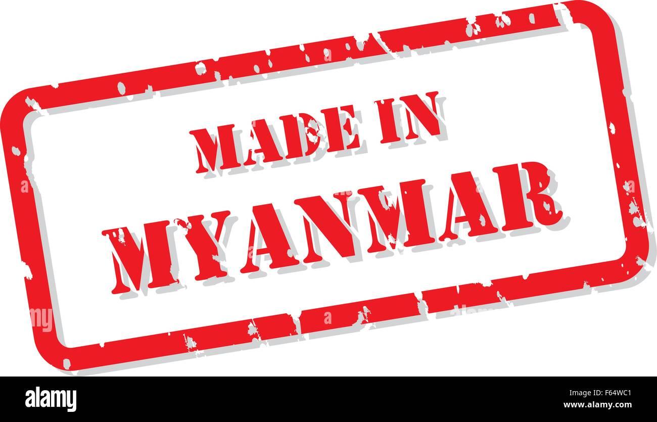 Red rubber stamp vector of Made In Myanmar - Stock Vector